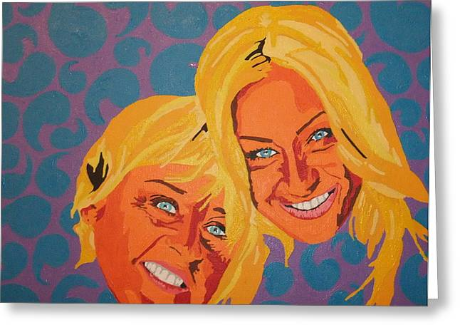 Ellen And Portia Greeting Card by Adrienne S