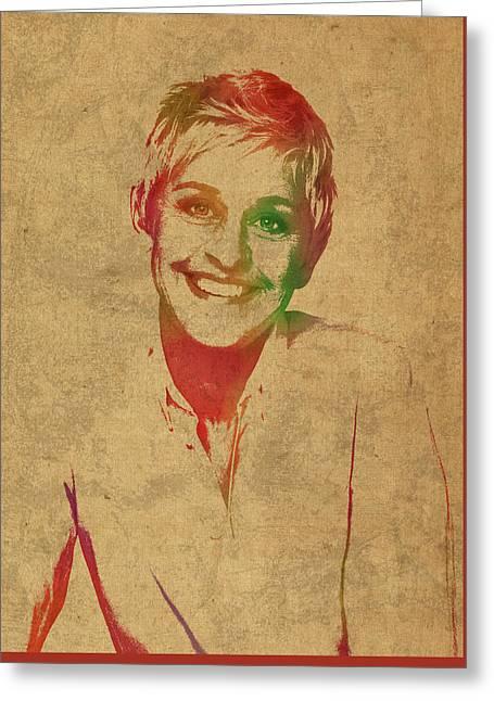 Ellen Degeneres Watercolor Portrait Greeting Card by Design Turnpike