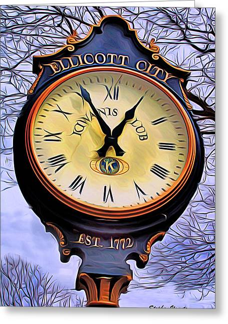 Frederick Digital Greeting Cards - Ellicott City Clock Greeting Card by Stephen Younts