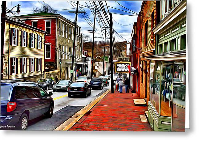 Catonsville Greeting Cards - Ellicott City Sidewalk Greeting Card by Stephen Younts