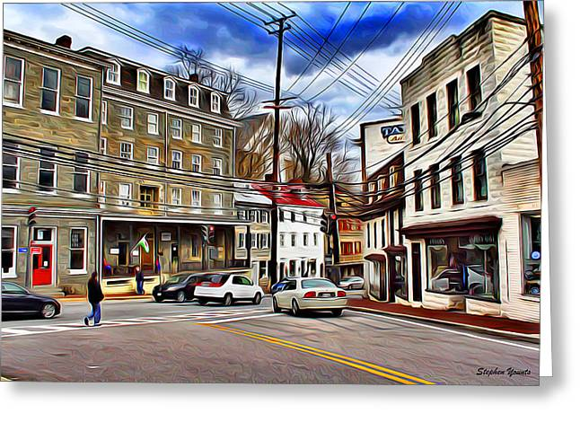 Ellicott City Streets Greeting Card by Stephen Younts
