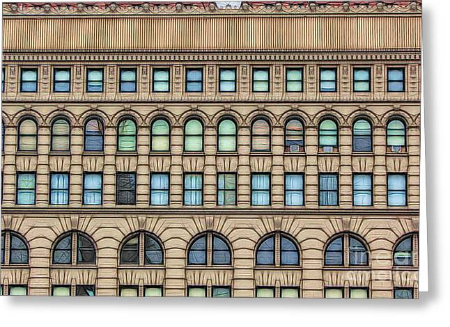 Ellicott Square Building Buffalo Ny Ink Sketch Effect Greeting Card