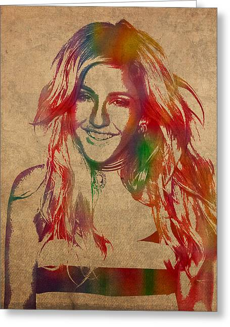 Ellie Goulding Watercolor Portrait Greeting Card by Design Turnpike
