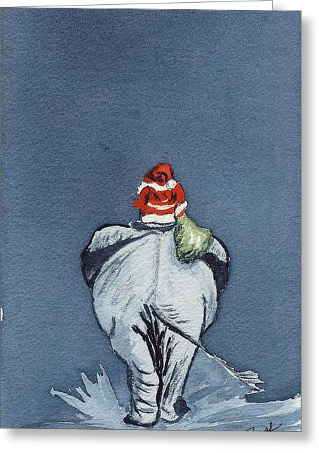Greeting Card featuring the painting Ellie Phant by Joan Zepf