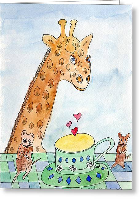 Elliott And Penelope Have Tea Greeting Card