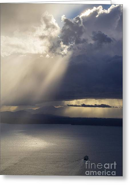 Elliott Bay Storm Clouds Ferry Greeting Card by Mike Reid
