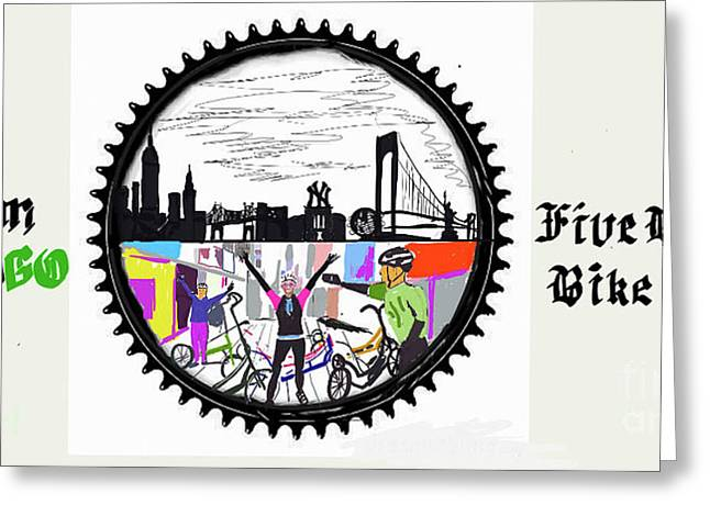 elliptiGO meets the 5 boros bike tour Greeting Card