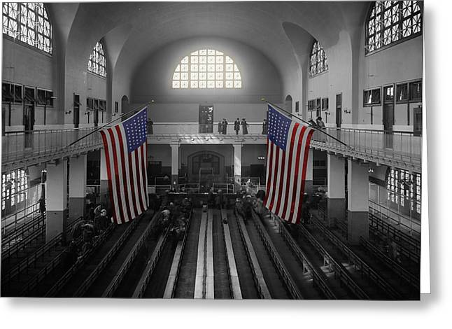 Immigrant Greeting Cards - Ellis Island Greeting Card by Andrew Fare