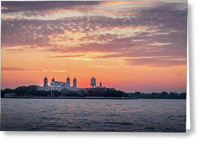 Ellis Island At Sunset Greeting Card
