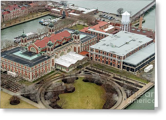 Ellis Island Immigrant Building Aerial Photo Greeting Card