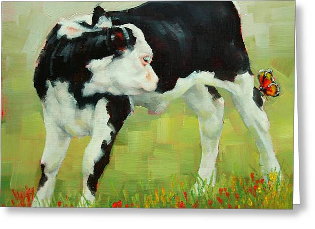 Elly The Calf And Friend Greeting Card by Margaret Stockdale