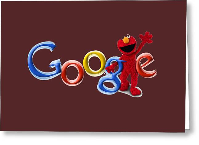 Elmo Google T-shirt Greeting Card by Herb Strobino