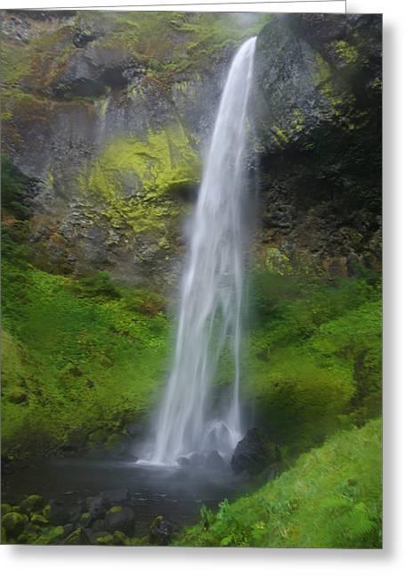Elowah Falls Greeting Card by Loree Johnson