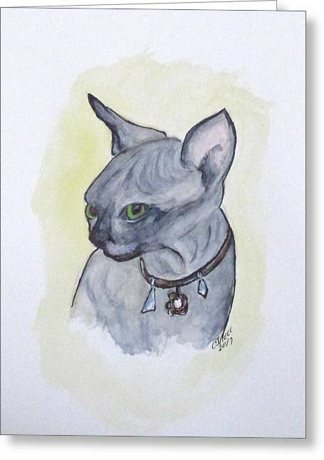 Greeting Card featuring the painting Else The Sphynx Kitten by Clyde J Kell