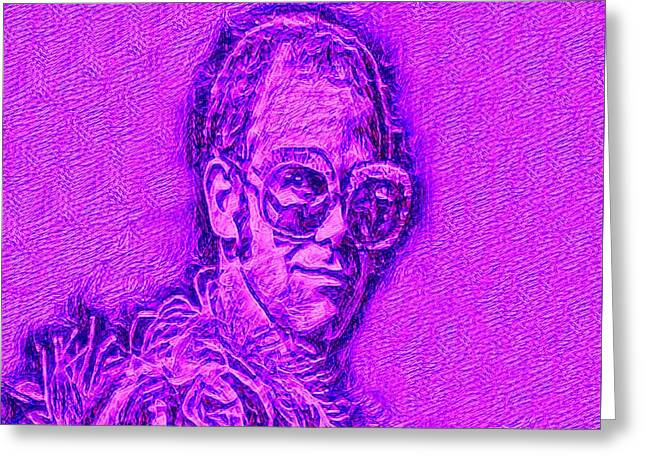 Elton In Purple Greeting Card by Pd