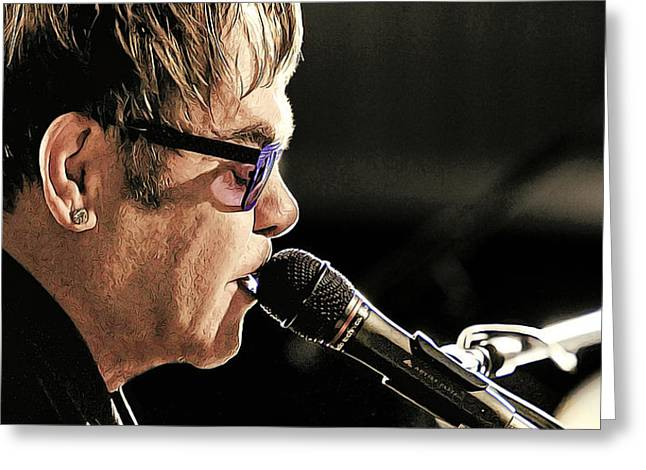 Elton John At The Mic Greeting Card by Elaine Plesser