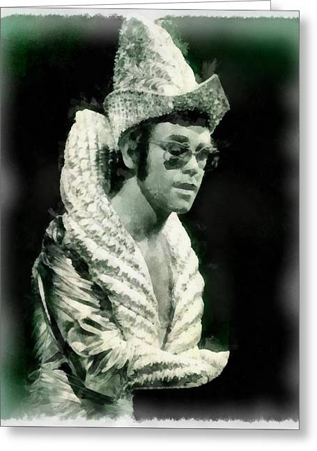 Elton John By John Springfield Greeting Card