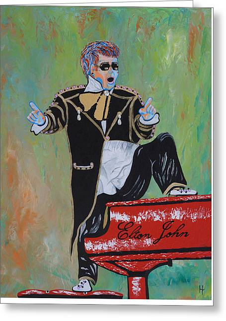Elton John Greeting Card by Heather Wilkerson