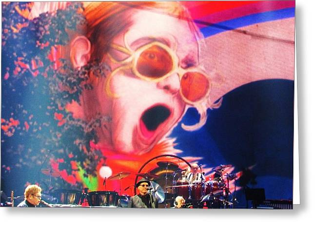 Elton John Then And Now Greeting Card by Allen Meyer