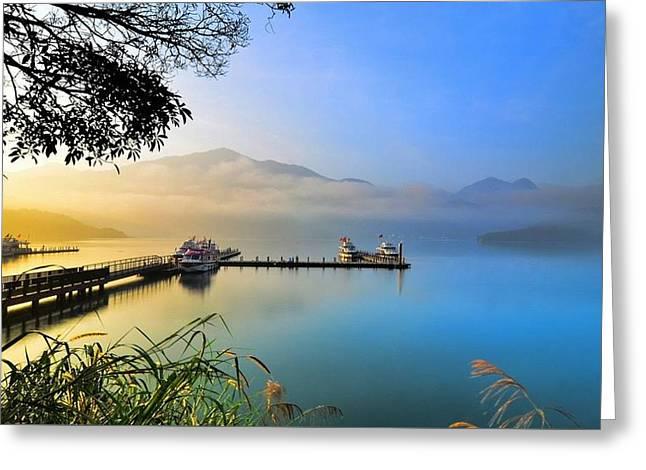 Elvin Siew Chun Wai - Morning Nature Mountain Bridge Reflection In Sea Greeting Card by Elvin Siew Chun Wai