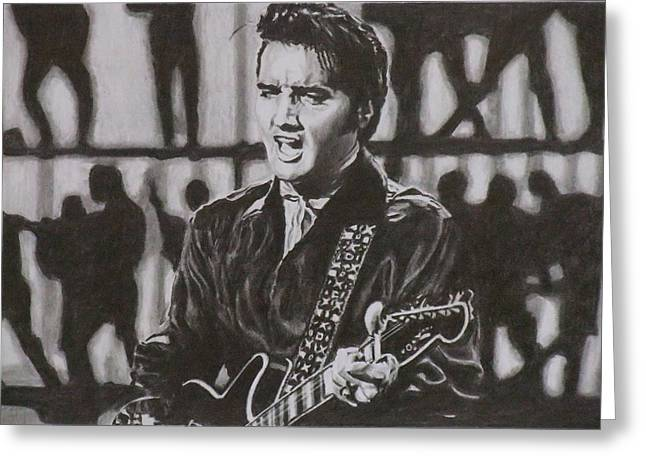 Elvis - 68 Comeback Greeting Card by Mike OConnell
