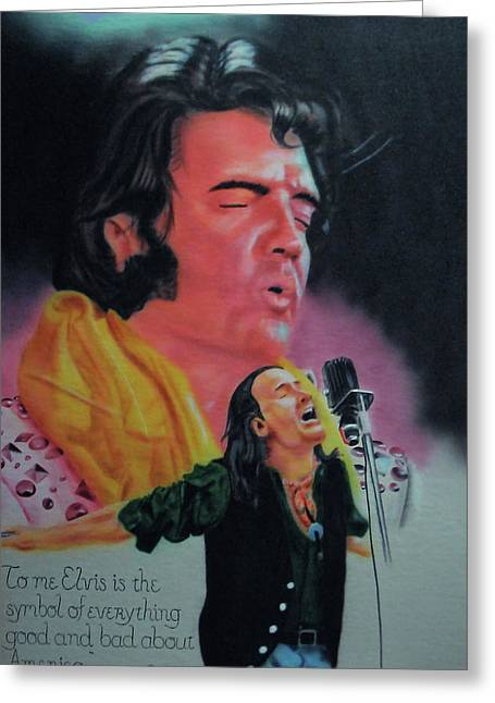 Greeting Card featuring the painting Elvis And Jon by Thomas J Herring
