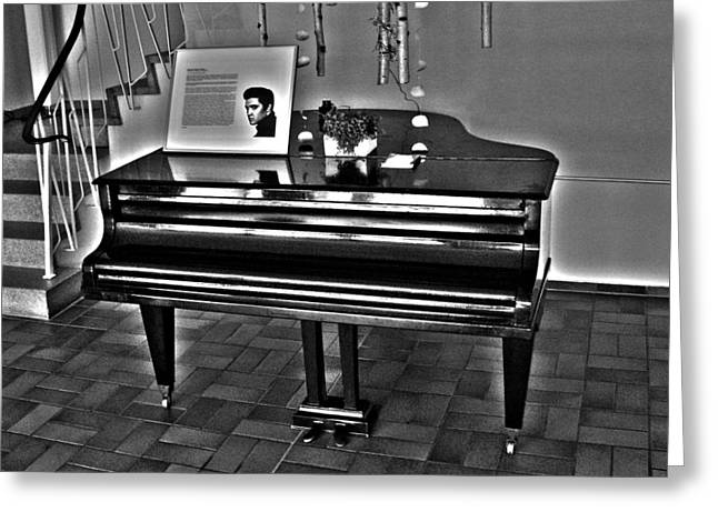 Elvis And The Black Piano ... Greeting Card by Juergen Weiss