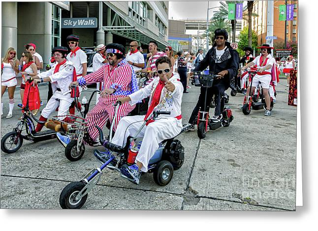 Elvis At The Running Of The Bulls- New Orleans Greeting Card