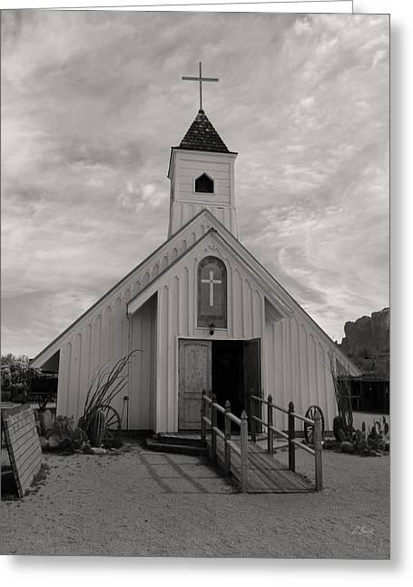 Elvis Chapel, Monochrome Greeting Card by Gordon Beck