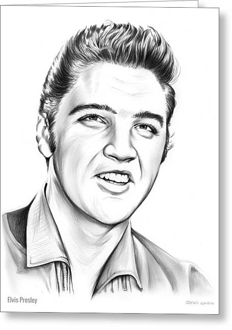 Elvis Greeting Card by Greg Joens