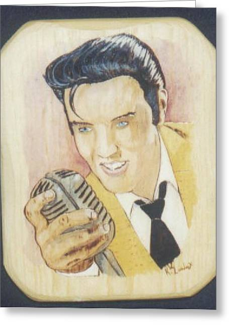 Best Sellers -  - People Pyrography Greeting Cards - Elvis Greeting Card by Kenneth Lambert