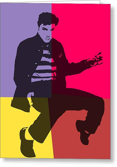 Elvis Pop Art Panels Greeting Card by Dan Sproul