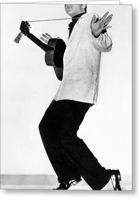 Elvis Presley In 1956 Greeting Card by Underwood Archives