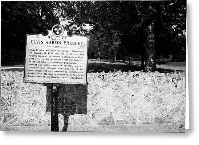 American Grafitti Greeting Cards - Elvis Presley Marker Nameplate And Low Wall Outside Graceland Memphis Tennessee Usa Greeting Card by Joe Fox