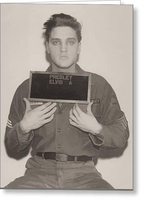 Elvis Presley Mugshot Greeting Card by Dan Sproul