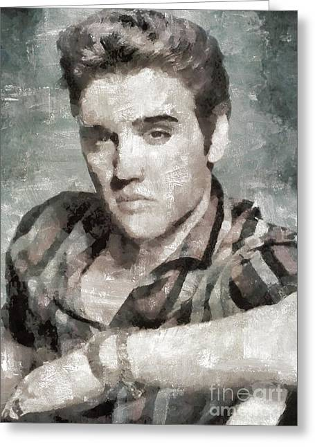 Elvis Presley, Music Legend Greeting Card by Mary Bassett