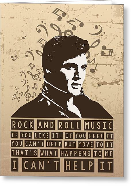 Elvis presley singing greeting cards fine art america elvis presley poster print quote rock and roll music greeting card m4hsunfo