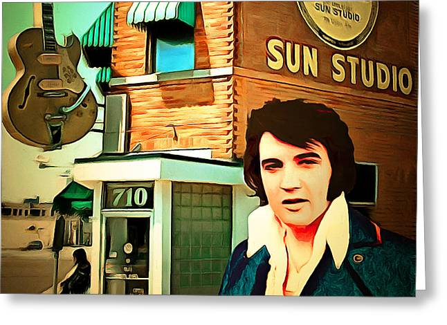 Elvis Presley The King At Sun Studio Memphis Tennessee 20160216 Square Greeting Card by Wingsdomain Art and Photography