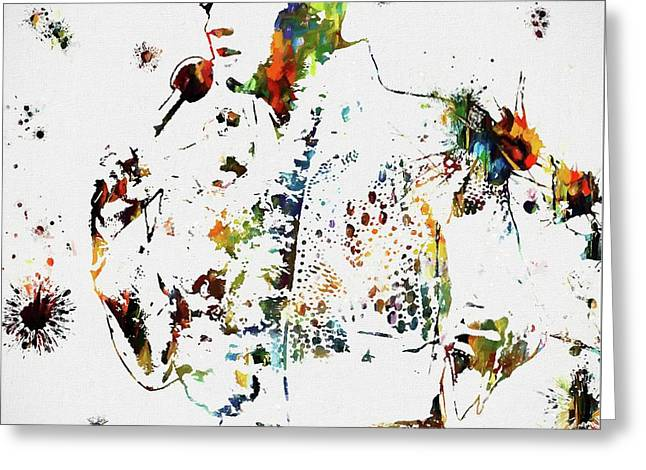 Elvis Singing Paint Splatter Greeting Card by Dan Sproul