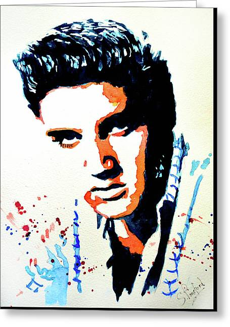 Elvis Greeting Card by Steven Ponsford