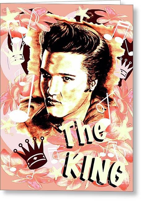 Elvis The King In Salmon Red Greeting Card