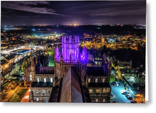 Ely Cathedral In Purple Greeting Card