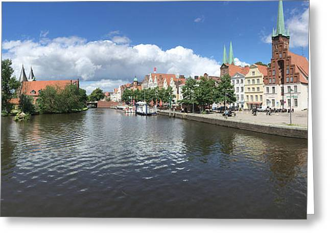 Embankment Of Trave In Luebeck Greeting Card