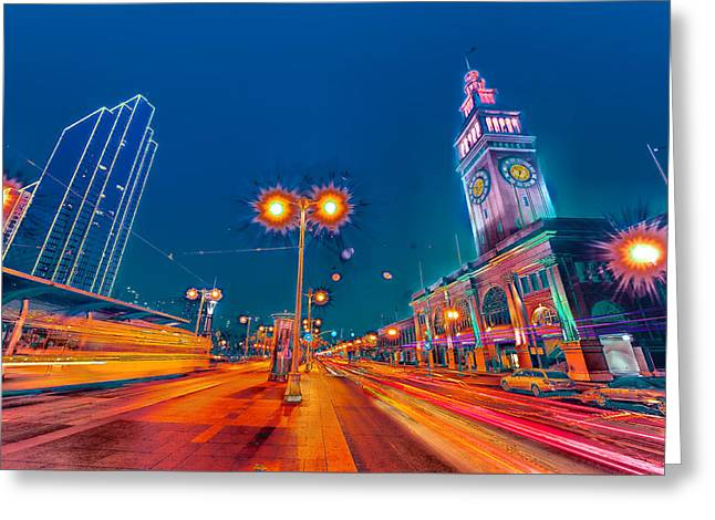 Greeting Card featuring the photograph Embarcadero Lights by Steve Siri