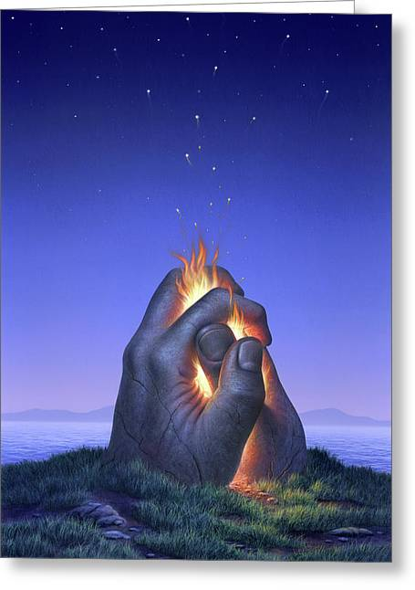 Embers Turn To Stars Greeting Card by Jerry LoFaro