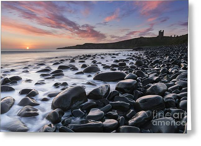 Embleton Bay And Dunstanburgh Castle At Dawn Greeting Card by Rod McLean