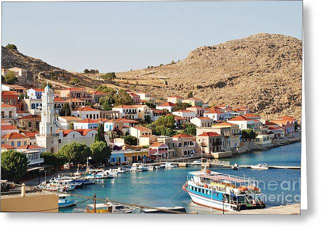 Emborio Village On Halki Greeting Card