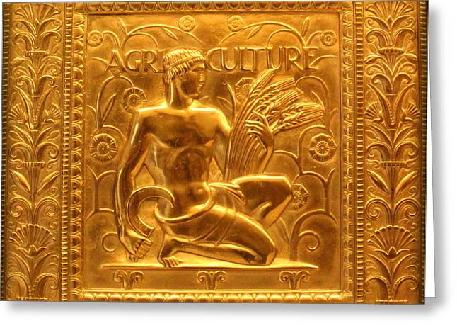 Embossed Brass Agriculture Panel - Fisher Building Greeting Card by Anita Hiltz