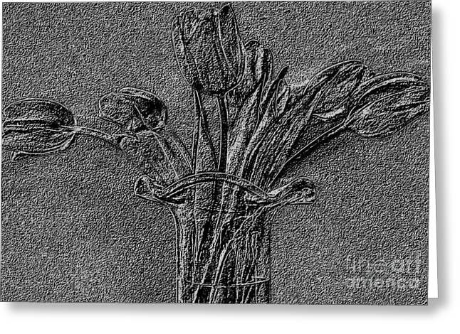 Embossed Tulip Abstract Greeting Card by Marsha Heiken