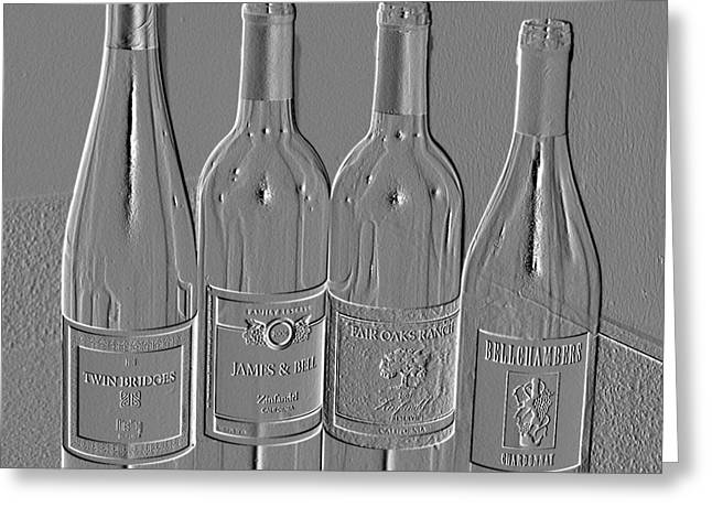 Embossed Wine Bottles Greeting Card by Donna Bentley